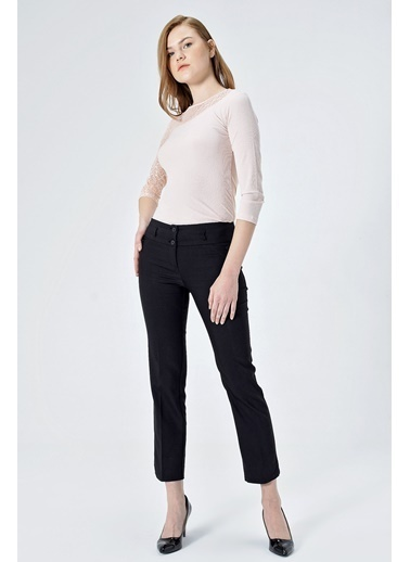 Jument Ashley Yüksek Bel Yırtmaçlı Paça Pantolon Siyah